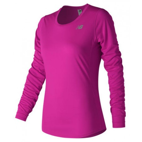 WOMENS NEW BALANCE ALPHA PINK LONG SLEEVE SWEAT WICKING RUNNING T-SHIRT TOP