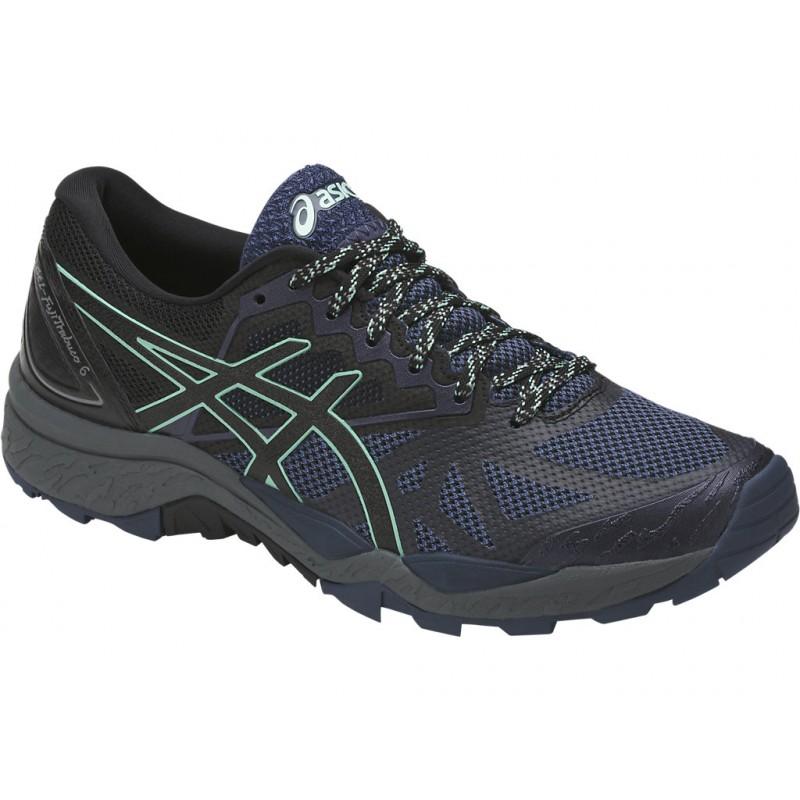 chaussures trail asics gel fujitrabuco 6 femme noir asics
